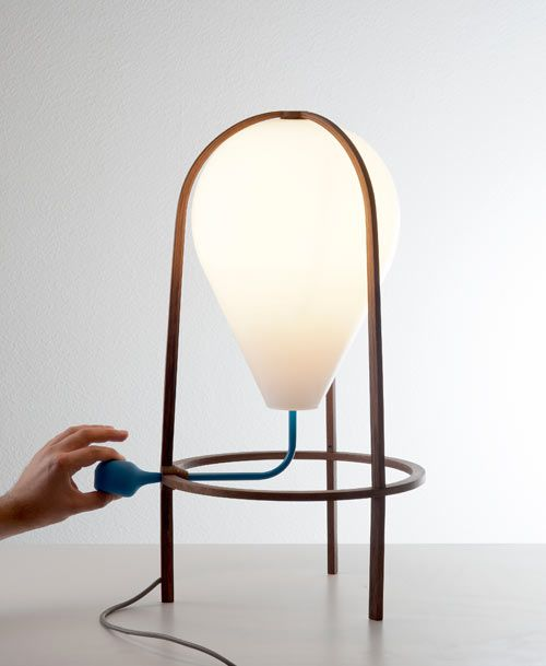 Interior designer and architect by training Grégoire de Lafforest created this lamp that looks like a balloon and lights up when a bulb-like pump is squeezed.