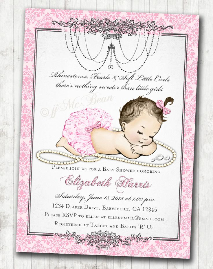 Girl Baby Shower Invitation for baby girl Pink & by jjMcBean
