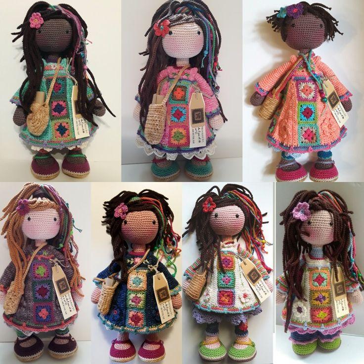 Estas 7 muñecas hippies están hechas por Berta A Vergara Santos/katxirula.blogspot.com NO VENDO PATRÓN.