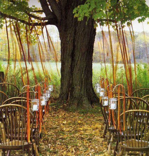 The colors, the streamers, the chairs.: Simple Outdoor Wedding, Outdoor Ceremony, Idea, Jars Candles, Chairs, Ribbons, Country Wedding, Trees, Mason Jars Lanterns