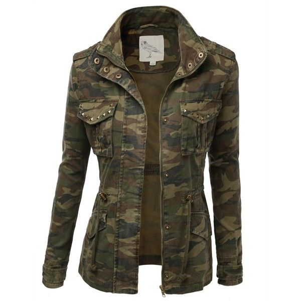 9Xis Women's Camo Military Cotton Drawstring Jacket with Studs ($32) found on Polyvore