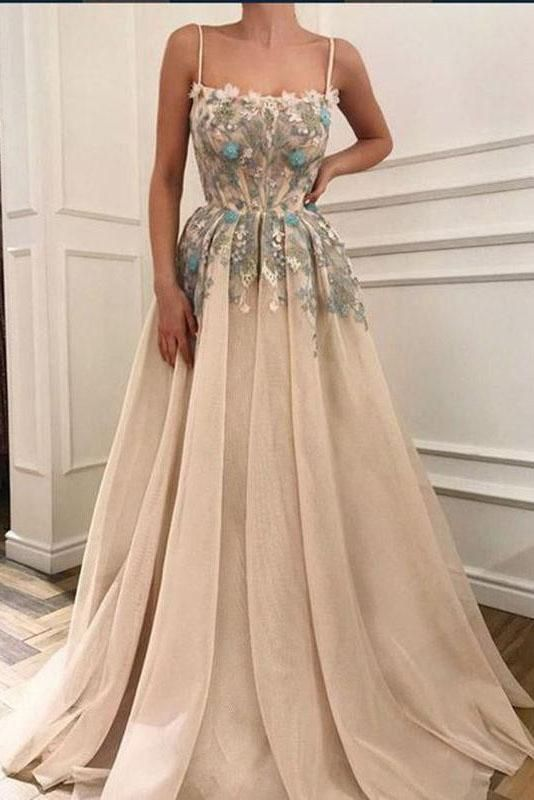 bb81579e3b Charming Spaghetti Straps Appliques A-line Formal Long Prom Dresses OKH14