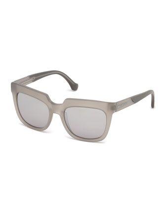 Balenciaga Textured Square Mirrored Sunglasses, Light Gray AED 1,343.32