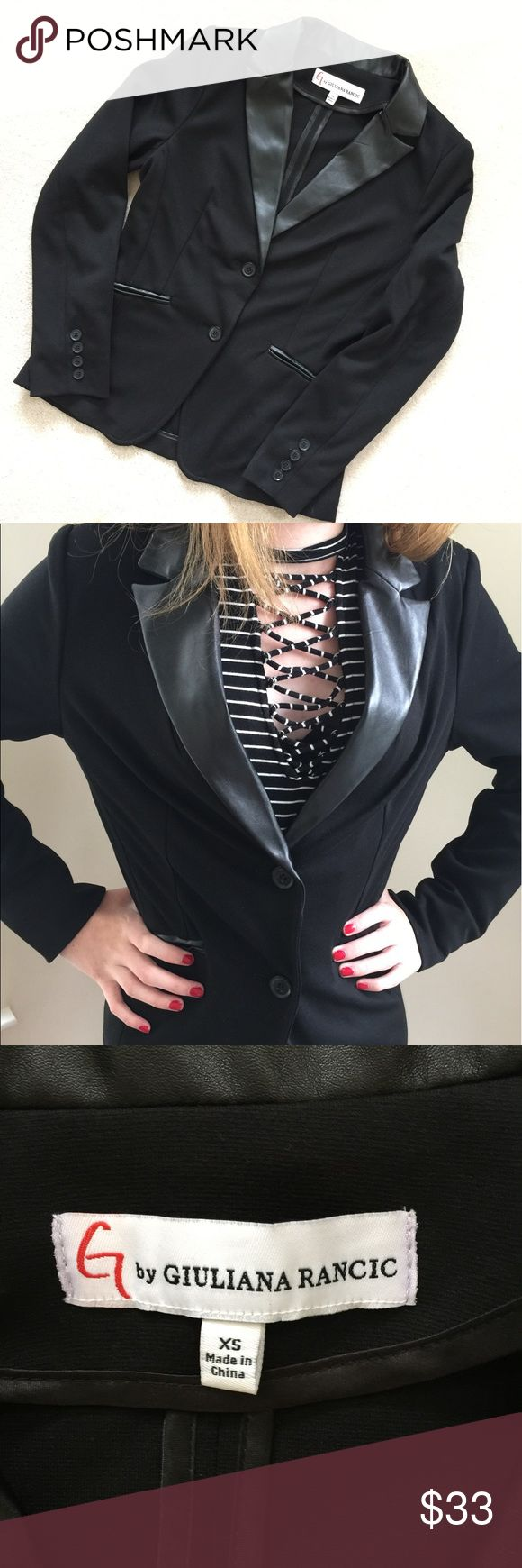 G by Giuliana Rancic leather trim blazer/jacket Like new condition! Beautiful blazer with leather trim collar and pockets. Great for a night out or work. G by Giuliana Rancic Jackets & Coats Blazers