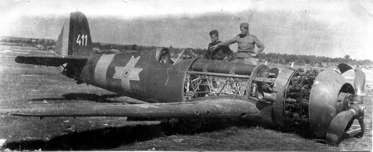 Downed IAR-80 being inspected by Russians