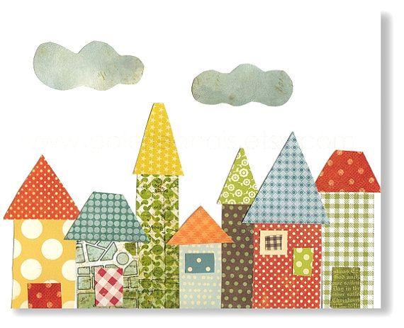 Arte per bambini di Baby Room Decor - scuola materna bambino stampa - stampa - arredamento camera ragazzi - stampa bambini - case - quartier...