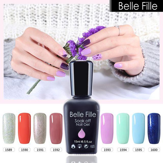 Belle Fille Glitter Nail Gel Polish Bling UV Gel Pink Purple Gel Nail Polish Blue Sky Series UV Soak Off Candy Fingernail Polish
