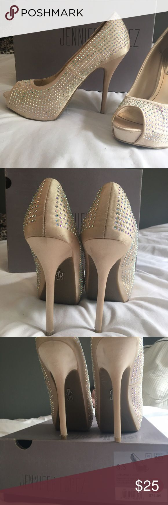 CREAM JEWLED PUMPS👡🥂 Need some cute heels for a wedding? Prom? Or another night out? BUY THESE! worn once, good condition. Beautiful color that can go with many different dresses. Comfortable too, I danced the whole night without taking my shoes off. Jennifer Lopez Shoes Heels
