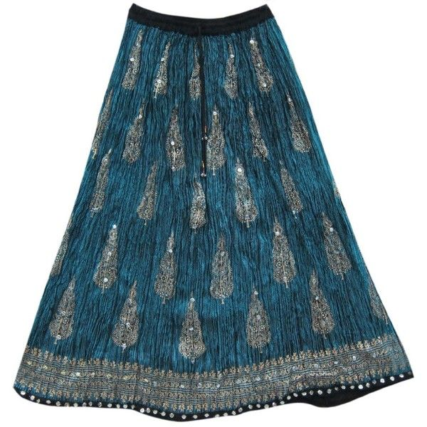Maxi Skirt Bohemian Fashion Blue Sequin Paisley Beaded Gypsy Skirt ($19) ❤ liked on Polyvore featuring skirts, long skirts, blue sequin skirt, sequin skirt, gypsy skirt and long boho skirts
