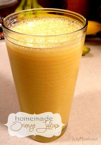 Homemade Orange Julius recipe via @TidyMom  6 oz. frozen orange juice concentrate   1 cup milk   1 cup water   1/2 cup powdered sugar   1 tsp. vanilla extract   8-9 ice cubes   whipped cream