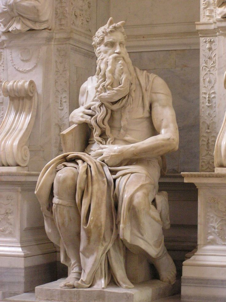 Moses is a marble sculpture by Michelangelo Buonarroti (1513-1515), focusing on the biblical figure of Moses. Originally conceived for the tomb of Pope Julius II in St. Peter's Basilica, Moses and the tomb was finally placed in the lower church of San Pietro in Vincoli ...