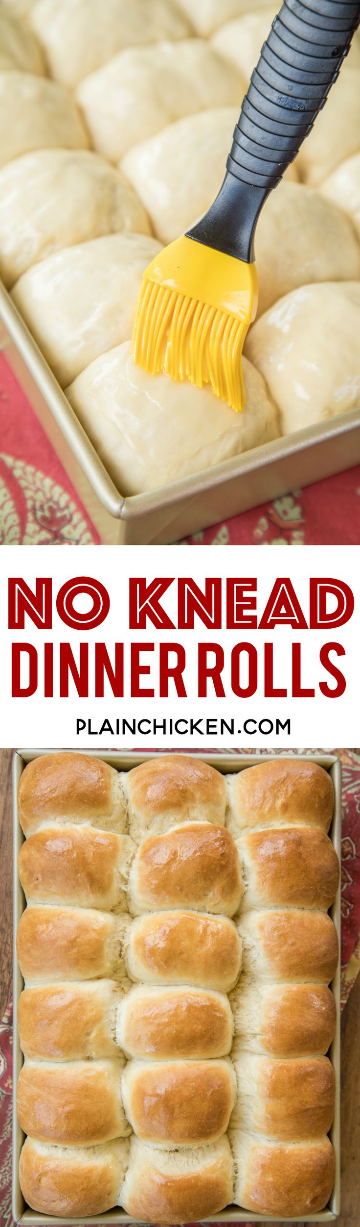 No Knead Dinner Rolls recipe - seriously THE BEST rolls EVER!! The best part is that you can make them the day before and bake them when you are ready. PERFECT for the holidays!!! Water, sugar, eggs, flour, butter and yeast. Super simple to make and they taste amazing. Great for making leftover turkey and ham sandwiches at the holidays!!