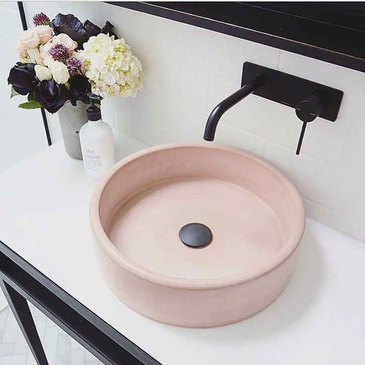 A blush pink concrete sink. I mean it's genius! Al…