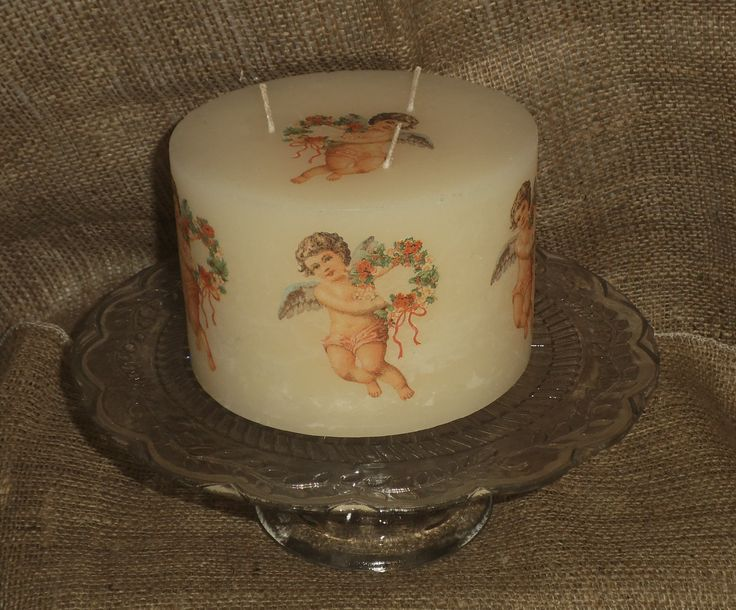 I decorate a number of different size candles with different cherub images - just love them! This is a large candle I decorated to order. See more of my napkin decoupage work in www.folksy.com/shops/YourLovelyHome and www.facebook.com/YourLovelyHomeStephanieSinclair