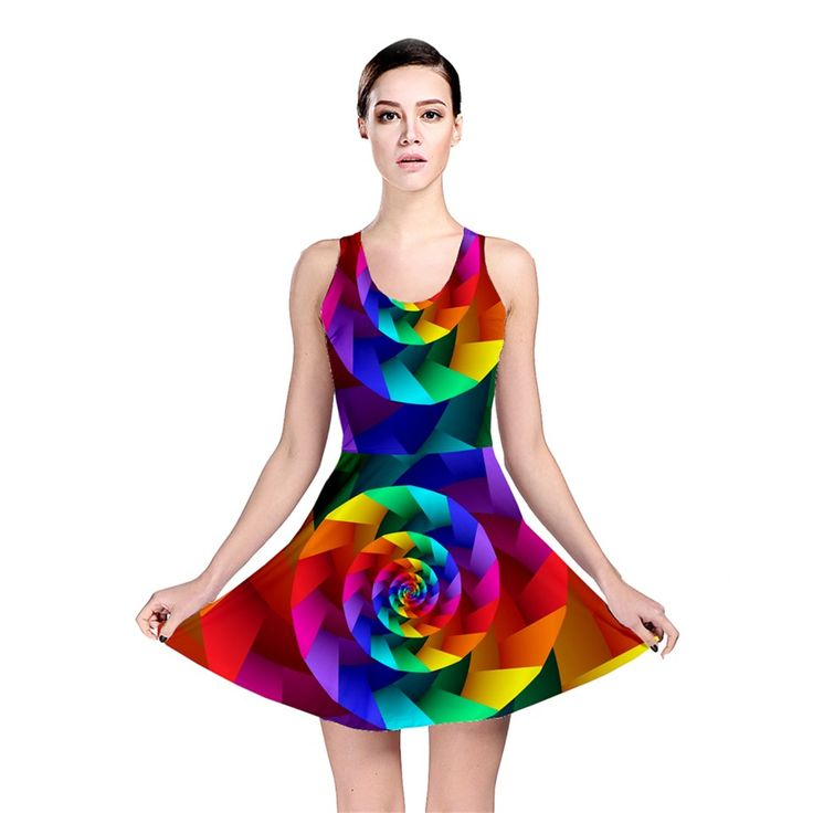 Psychedelic+Rainbow+Spiral+Reversible+Skater+Dress By KittyBitty