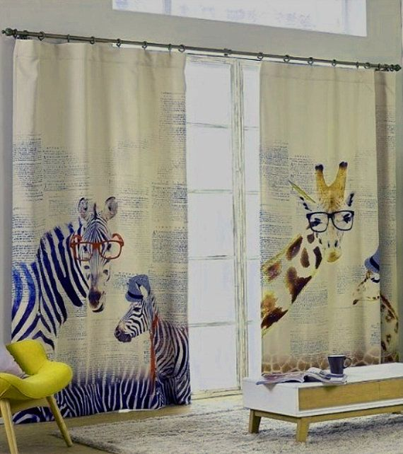 "Zebras or Giraffes Nursery or Kid's Room Window Curtain Panel - Triple Woven Light Blocking Fabric . 51"" Wide. Custom Curtain Made to Order."