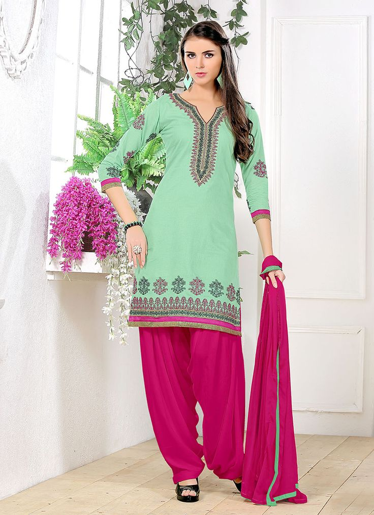 Green Wholesale Patiala Salwar Suit In Glace Georgette Fabric