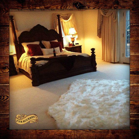 shag bear skin rug sheepskin faux fur area rug thick white or off white