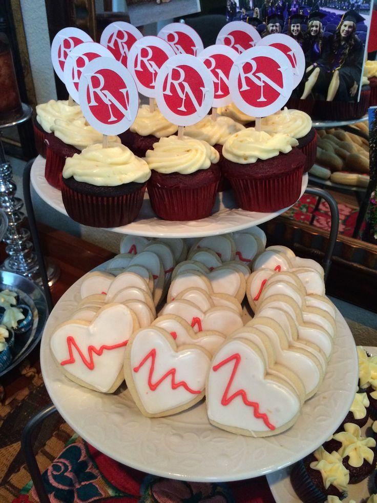 Homemade EKG cookies and RN cupcake toppers for Nursing School graduation party! #nursingschool #rn #nurse