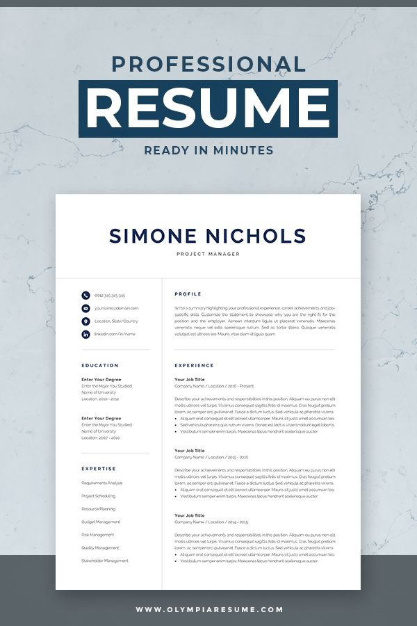 professional resume template for word  u0026 mac pages