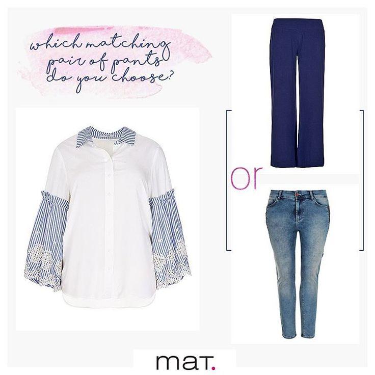 Το romantic στυλ συναντά την κλασική αξία ενός πουκάμισου σε όμορφη ριγέ διχρωμία με τα παιχνιδιάρικα μανίκια να επιτυγχάνουν το συνδυασμό δυναμισμού-θηλυκότητας! Είμαστε όμως σε δίλημμα πως θα το συνδυάσουμε! Mε flared μπλε παντελόνι ή τζιν παντελόνι σε slim γραμμή με παγιέτες; Eσύ τι λες; Ανακάλυψε το πουκάμισο ➲ code: 671.3041 Ανακάλυψε το μπλε παντελόνι ➲ code: 678.2501 Ανακάλυψε το τζιν παντελόνι ➲ code: 672.2018 #matfahion #ootd #casual #denim #style #inspiration #plussizefashion…