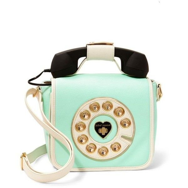 Betsey Johnson Mint Call Me Baby Telephone Crossbody ($108) ❤ liked on Polyvore featuring bags, handbags, shoulder bags, mint, mint green crossbody, betsey johnson crossbody, cell phone purse, green shoulder bag and mint green purse