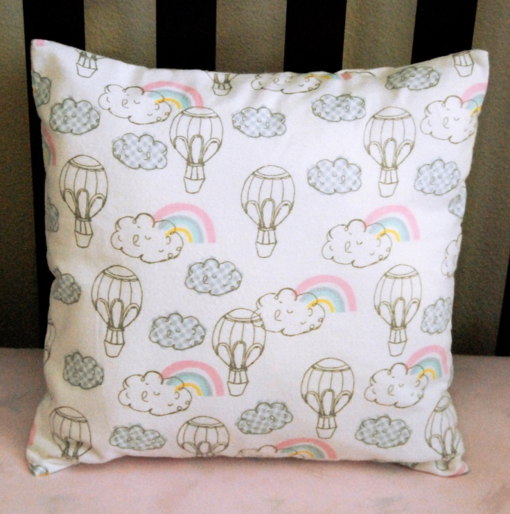 whimsical nursery pillow cover set stripes and hot air balloons choose 14x14 or 16x16