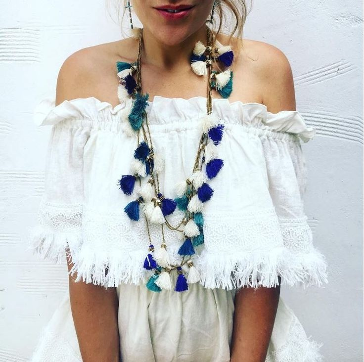 White Strapless Dress with Blue Tassel Necklaces