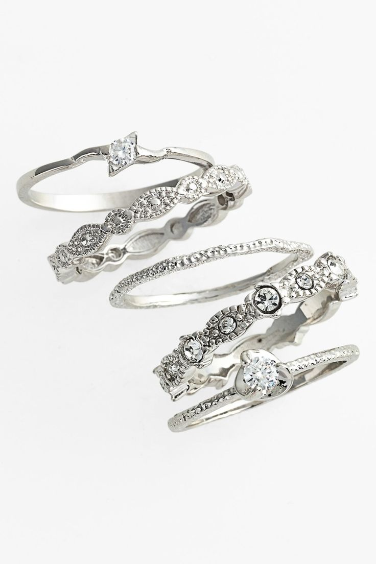 Shiny Pretty Things | Ariella Collection Stackable Rings (Set of 5)