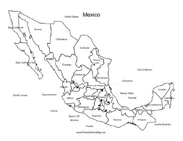 a printable map of mexico labeled with the names of each mexican state it is
