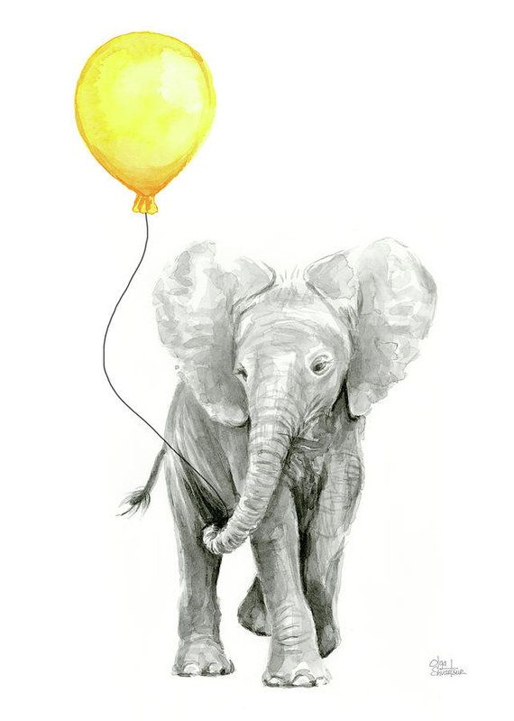 Elephant Art Print featuring the painting Baby Elephant Watercolor With Yellow Balloon by Olga Shvartsur