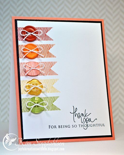 You could easily do this with washi tape or scraps of DP & those odd, left-over buttons. Great for a guy thank you card, as you can change the bows to knots & it's not so girly. You can also change the colours to suit whatever buttons you have.