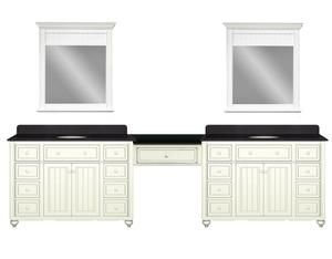 Double Vanity Cabinets For Bathroom With Dressing Table | Cottage Retreat  120 Inch Double Vanity With