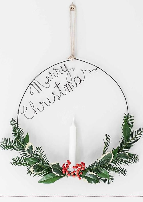 Wire wreath alternative with candle