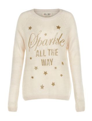 Stone Sparkle All The Way Christmas Jumper  | New Look