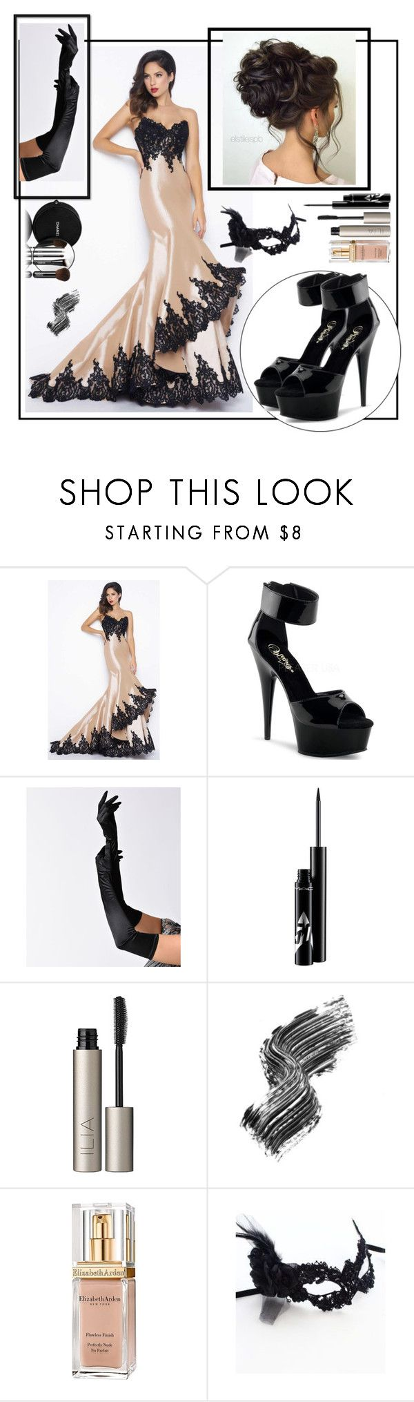 """""""Masked Ball"""" by janemorguedoe ❤ liked on Polyvore featuring Mac Duggal, Chanel, Ilia, Illamasqua and Elizabeth Arden"""
