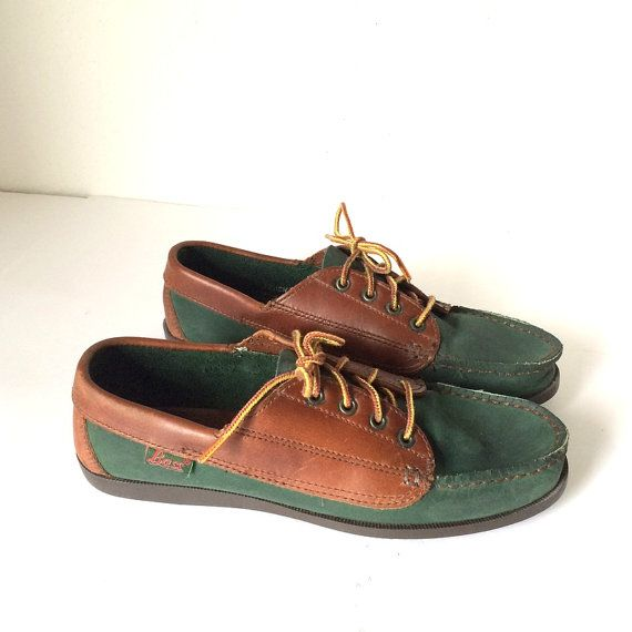 Vintage Bass Green and Brown Leather Oxfords Lace up Boat shoes ...