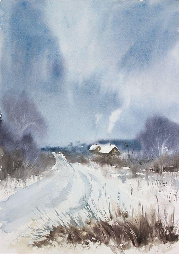 «Начало зимы» живопись акварелью Екатерины Губиной