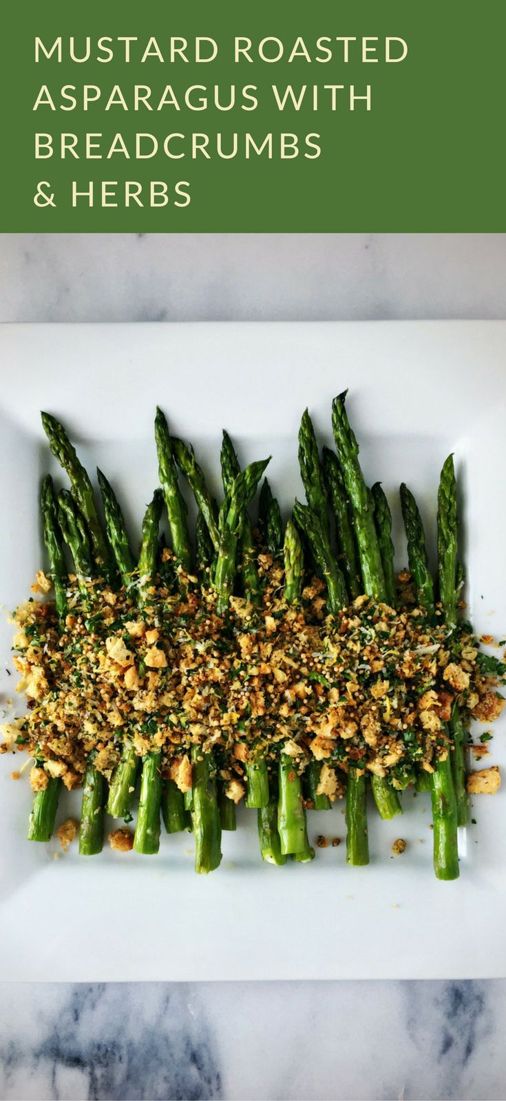Mustard Roasted Asparagus with Breadcrumbs and Herbs | #MyMustard