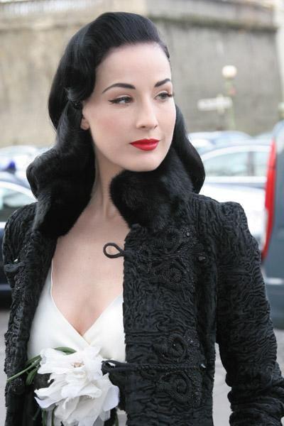 Dita Von Teese gorgeous hair makeup and clothing as always