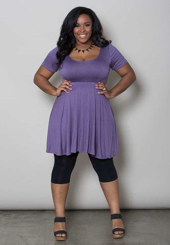 Leggings under dresses are back! Pair a simple plus size dress like this deep lavender frock with leggings for an edgy and comfy look, sizes 14 to 36 (1x-6x). Free shipping and free returns everyday.