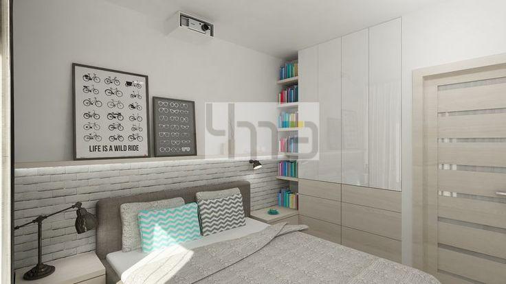 Dwupokojowe mieszkanie 48 m2 zaprojektowane dla młodej pary - http://4ma-projekt.pl Biało-szara kolorystyka z elementami jasnego drewna. Sypialnia.