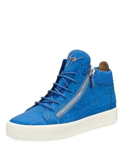 Men's Crocodile-Embossed Leather Mid-Top Sneaker