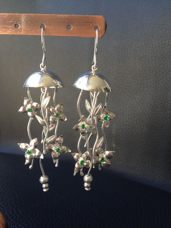 Tropical forest sterling silver earrings  by CarolinaAron on Etsy, $90.00