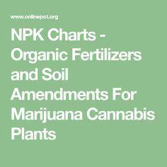 NPK Charts - Organic Fertilizers and Soil Amendments For Marijuana Cannabis Plants