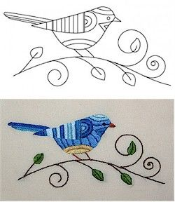 Free #embroidery pattern: Bluebird