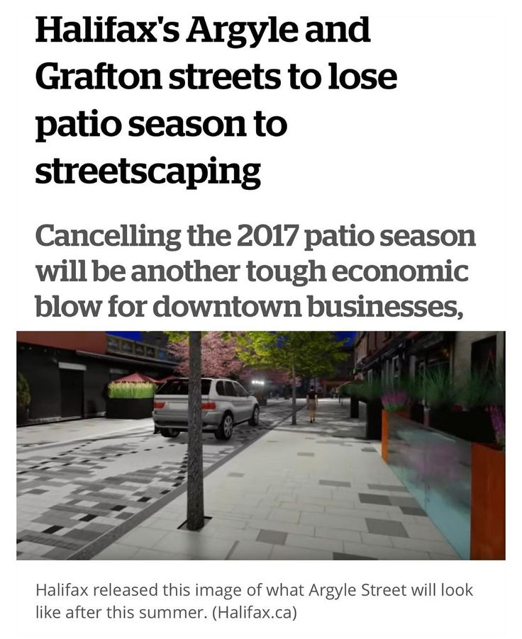 "from @cbcns  Halifax won't issue patio permits for a busy part of the downtown bar district this summer while construction crews revamp the streetscape. . Tiffany Chase a spokesperson for the Halifax Regional Municipality said Halifax is upgrading two blocks of Argyle Street  between Blowers and Prince streets and part of Grafton Street  between Prince and Carmichael streets. . ""For this one season we will not be issuing cafe permits to the businesses along the area that's going to have…"