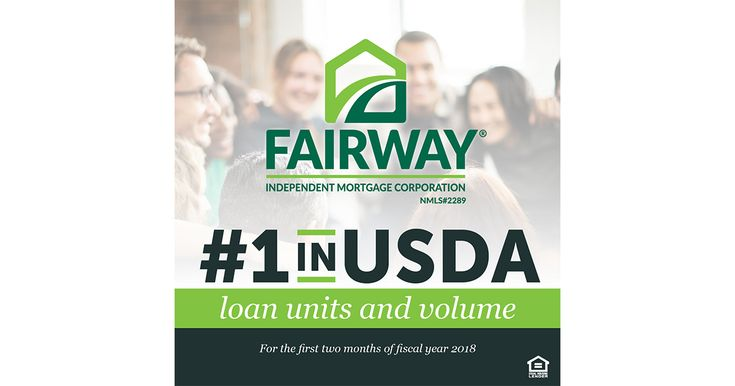 Fairway Independent Mortgage Corporation has been voted #1 in USDA loan volume for the first two months of the fiscal year 2018. If you are interested in purchasing a home or refinancing your current home, I would love to talk to you.