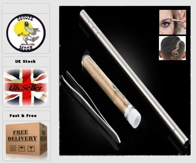 Hair Styling Eyebrows Beards Pen Razor Salon Engraved Pen & 10 Blades UK Seller