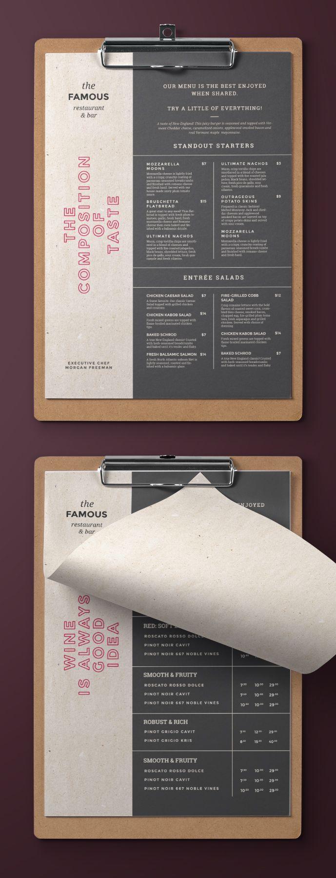 Elegant and simple restaurant menu. Trendy and eas…